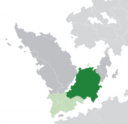 Location of  Duriam  (dark green)– in South Ilthin  (green & dark grey)– in the Aeron Union  (green)  –  [Legend]
